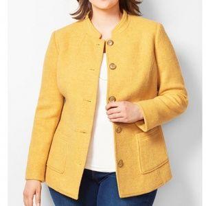 Talbots Diamond Weave Golden Yellow Blazer